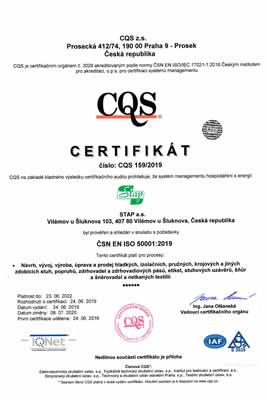 ČSN EN ISO 50001:2016 - Návrh, vývoj, výroba, úprava a prodej hladkých, izolačních, pružných, krojových a jiných zdobících stuh, popruhů, zdrhovadel a zdrhovadlových pásů, etiket, stuhových uzávěrů, šňůr a šněrovadel a netkaných textilií
