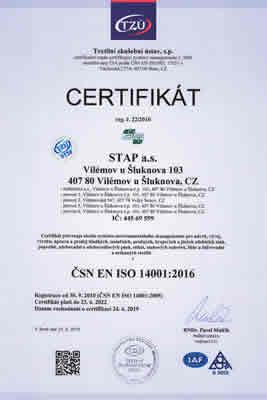 ČSN EN ISO 14001:2016 - Návrh, vývoj, výroba, úprava a prodej hladkých, izolačních, pružných, krojových a jiných zdobících stuh, popruhů, zdrhovadel a zdrhovadlových pásů, etiket, stuhových uzávěrů, šňůr a šněrovadel a netkaných textilií